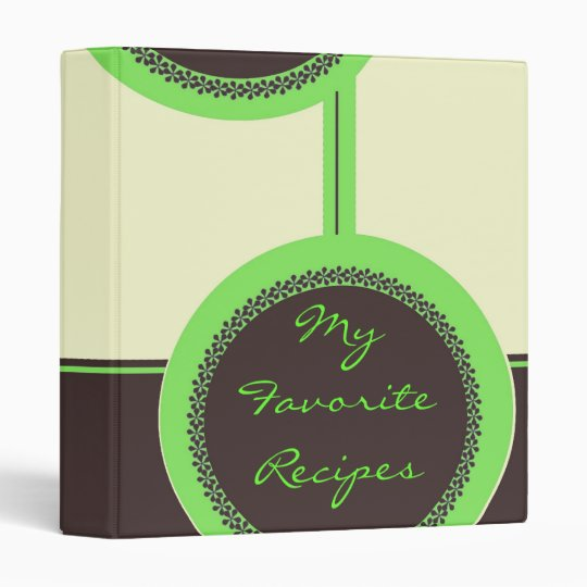 Mocha Lime Circles Recipe Book 3 Ring Binder