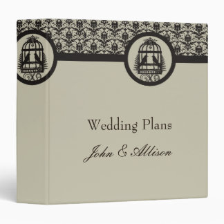 Mocha Lovebird Cage Wedding Organizer Binder