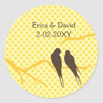 mocha lovebirds wedding label