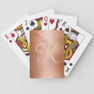 Mocha Marbled Monogram Playing Cards