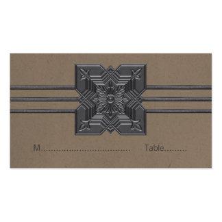 Mocha Medallion Border Place Card Business Cards