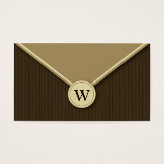 Mocha Monogram Elegant Envelope Business Cards
