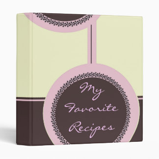 Mocha Petal Circles Recipe Book 3 Ring Binder