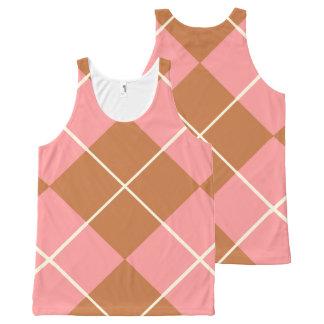 Mocha Pink Argyle All-Over Print Tank Top