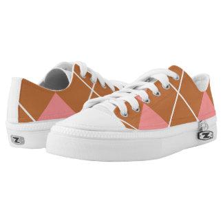 Mocha Pink Argyle Printed Shoes