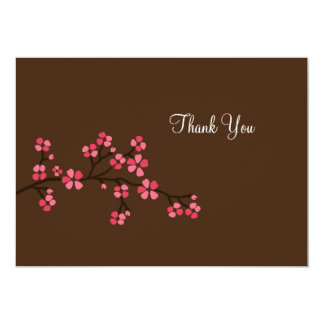 Mocha Pink Cherry Blossom Flat Card Thank you note