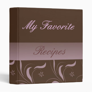 Mocha Pink Recipe Book 3 Ring Binder