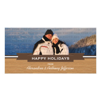 Mocha Rustic Banner Holiday Photo Card