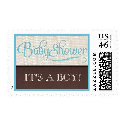 Mocha Rustic New Baby Boy Baby Shower Postage