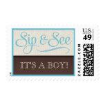 Mocha Rustic New Baby Boy Sip & See Postage