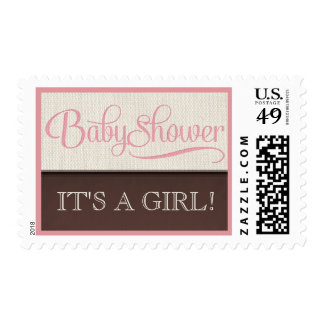 Mocha Rustic New Baby Girl Baby Shower Postage