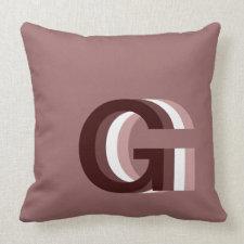 Mocha Stacked Monogram Throw Pillow