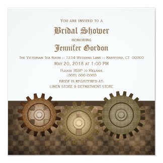 Mocha Steampunk Gears Bridal Shower Invite