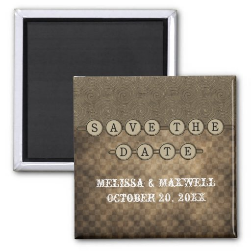 Mocha Steampunk Keys Save the Date Magnet