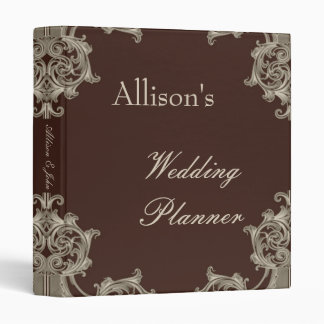 Mocha Taupe Damask Wedding Planner Binder