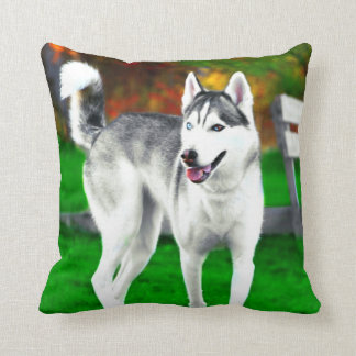 Mocha The Husky In The Fall Throw Pillow