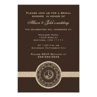 Mocha Time Medallion Bridal Shower Invitation