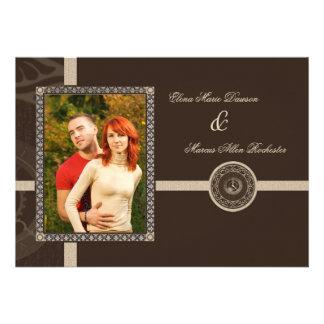 Mocha Time Medallion Wedding Invitation