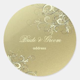 Mocha / vanilla swirls wedding stickers