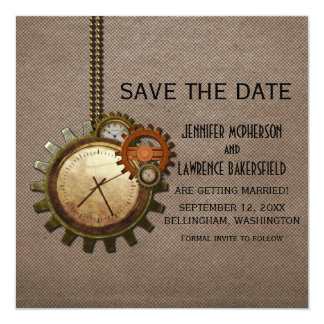 Mocha Vintage Clock Save the Date Invite