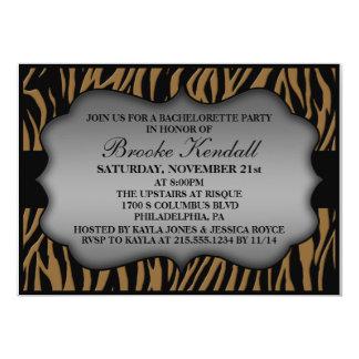 Mocha Wild Night Zebra Print Bachelorette Party 5x7 Paper Invitation Card