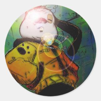 mochi greg collaberation no red classic round sticker