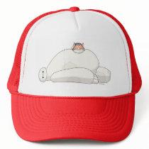 Mochi Laying on Baymax Trucker Hat
