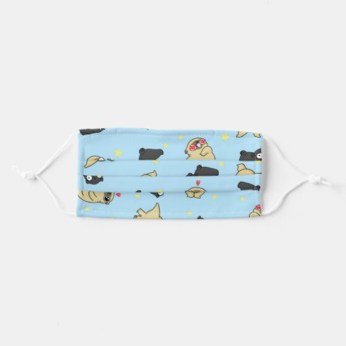 Mochi the pug and Violet blue pattern Adult Cloth Face Mask