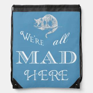 Mochila azul enojada del lazo del gato de Cheshire