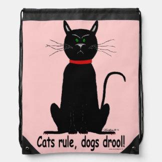 ¡Mochila de la secuencia con el gato negro malhumo
