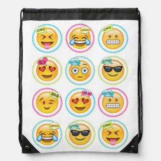 Mochila del bolso de lazo de Emoji del texto