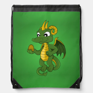 Mochila del dibujo animado del dragón verde