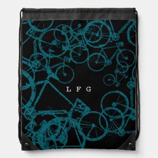 mochila del lazo con las bicis azules