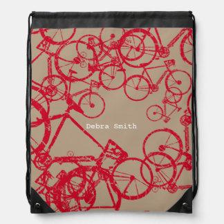 mochila del lazo con las bicis rojas