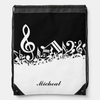 Mochila del lazo de las notas musicales con nombre