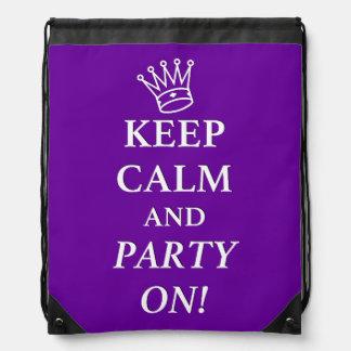 Mochila del lazo - púrpura - guarde la calma y