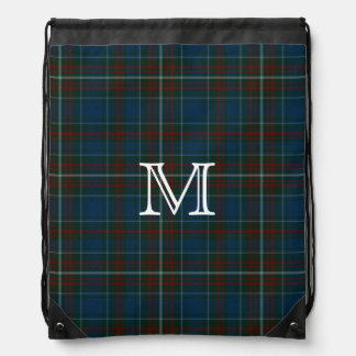 Mochila del monograma de la tela escocesa de