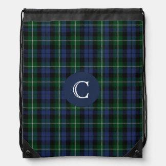 Mochila del monograma de la tela escocesa de tartá