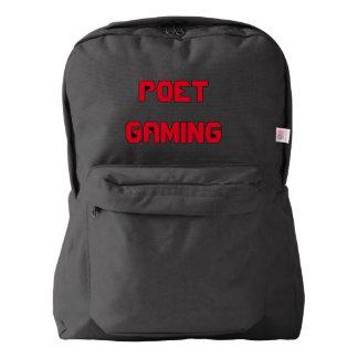 Mochila del texto del juego del poeta (roja en