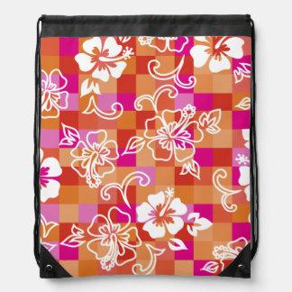 Mochila hawaiana del hibisco del tablero de damas