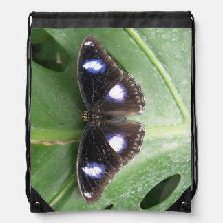 Mochila manchada azul hermoso de la mariposa
