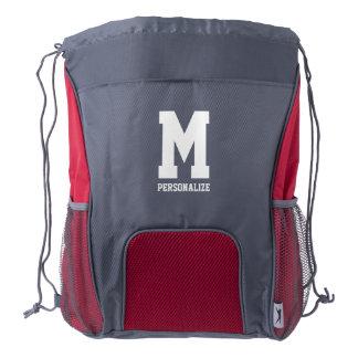 Mochila personalizada del lazo con el monograma mochila de cordón