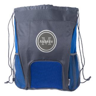 Mochila personalizada del lazo del monograma mochila de cordón