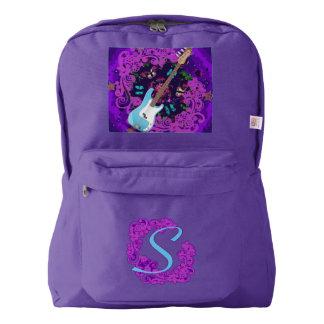 Mochila púrpura de encargo del remolino floral de