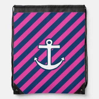 Mochila rosada del ancla de la marina de guerra