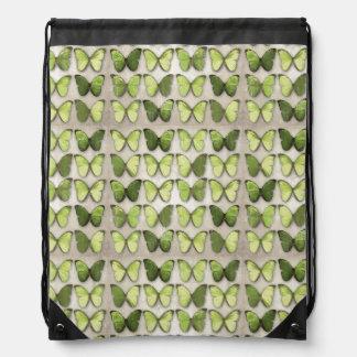 Mochila verde del lazo de las mariposas