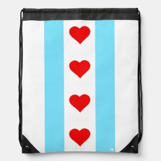 Mochila vertical de la bandera del corazón de
