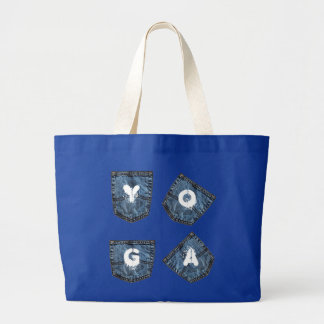 Mock Denim Pockets - Yoga Tote Bag