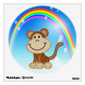 Mock Embroidery Monkey & Rainbow Wall Decal