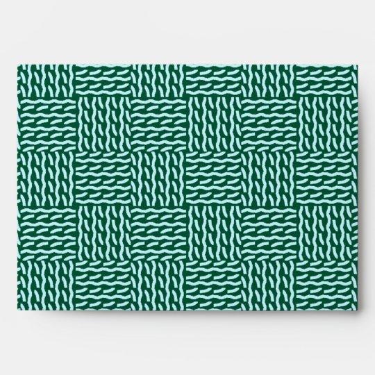 Mock knit envelope, dark green envelope